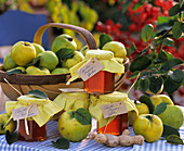 Apple quinces ('Konstantinopler'), quince jelly and ginger