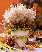 Autumnal arrangement with Chinese silvergrass