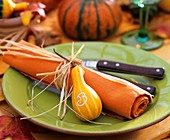 Orange napkin tied with raffia and ornamental gourd