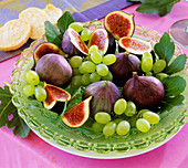 Plate of figs and grapes