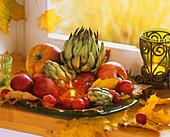 Autumn leaves, artichokes, apples & ornamental apples