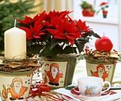 Weihnachsstern mit weihnachtlicher Tischdekoration