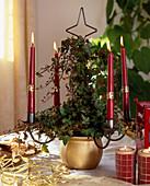 Kerzenständer mit Efeu im Advent