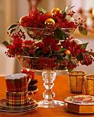 Glasetagere mit Weihnachtsstern und Zwergmispel