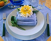 Yellow and white dahlia on pale-blue napkin