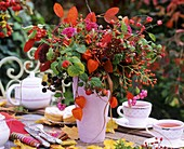 Arrangement of berries and Chinese lanterns