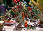 Arrangement of sea buckthorn, rose hips, elderberries, blackberries