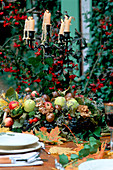 Autumn table wreath of fruit and nuts