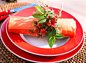 Rose hip napkin decoration