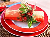 Rose hip napkin decoration