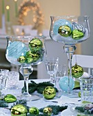 Tree ornaments used as table decorations