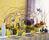 Breakfast table with Easter decoration