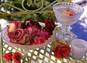 Glass bowls of roses