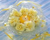 Hellgelbe Blüten auf Glasteller um gelbe Kerze gelegt