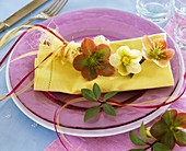Place-setting decorated with Lenten rose
