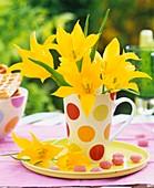 Yellow tulips in coffee mug
