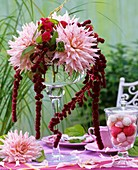 Dahlias with Amaranthus, glass of marshmallows
