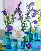 Pfingstrose, Glockenblume & Katzenminze in blauen Flaschen