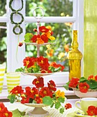 Red nasturtium flowers on a white tiered stand