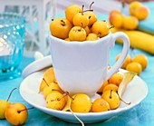 Yellow ornamental apples in a cup and saucer