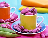 Purple beans in espresso cups