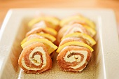 Salmon roulades with horseradish cream