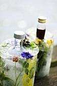 Getränke mit Sommerblumen und Eis in Flaschenkühlern