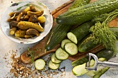 Fresh cucumbers and gherkins, dill and spices