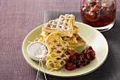 Sweet spaghetti waffles with berry compote