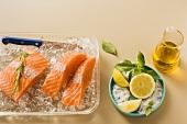 Salmon on crushed ice, lemon, olive oil