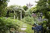 Sommerlicher Garten mit Gartenbank