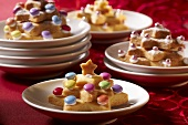 Star cookie trees decorated with chocolate beans and dragees