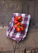 Tomatoes, variety 'Reisetomate, on checked napkin