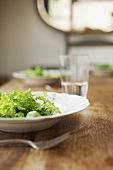 Three plates of green salad on a wooden table