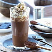 Cocoa with cream in glass