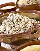 Barley flakes in terracotta dish