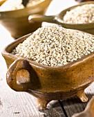 Barley grains in terracotta dish