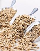 Cereal flakes in metal scoop