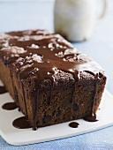 Chocolate loaf cake with chocolate sauce
