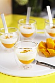 Mango puree with coconut cream and passion fruit in glasses