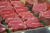 Beef on a meat counter