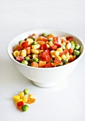 Frozen mixed vegetables in a bowl