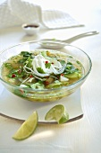 Rice noodle soup with coriander
