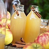 Cloudy apple juice in glass bottles, fresh apples, cinnamon sticks