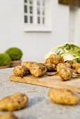 New potatoes and kohlrabi on a garden table