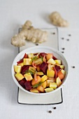 Beetroot, potato and onion stew with ginger and dill