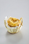 Langres (washed rind cheese from France) in a basket