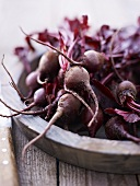 Baby beetroots in a wooden bowl