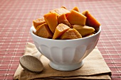 Cooked sweet potatoes in bowl