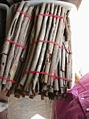 Bundles of cinnamon bark